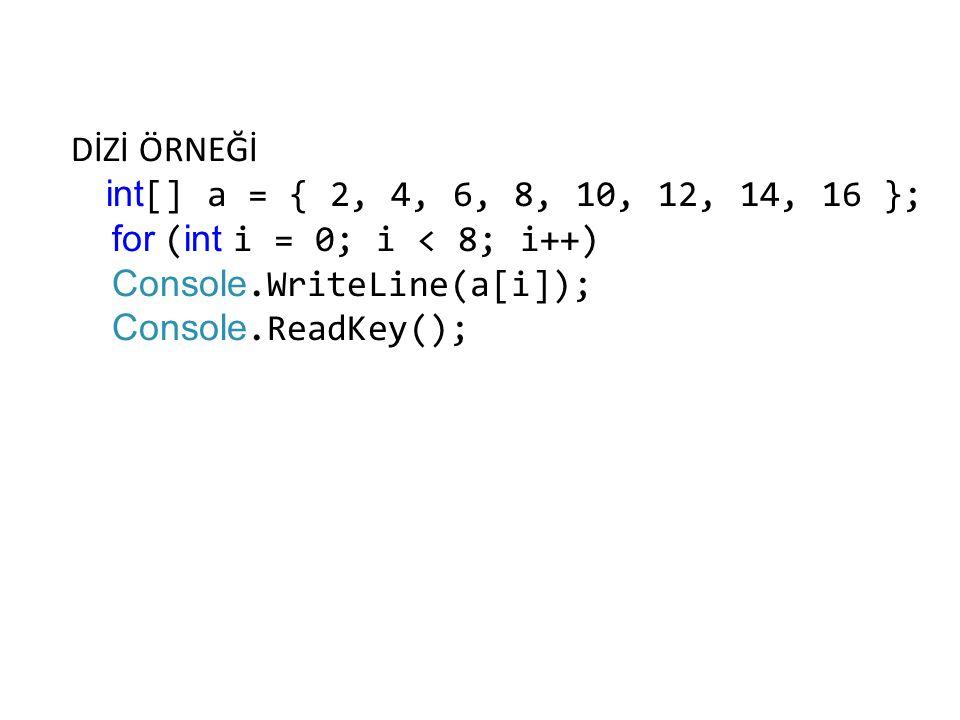 for (int i = 0; i < 8; i++) Console.WriteLine(a[i]);